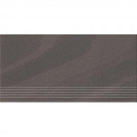 Gres zdobiony stopnica KANDO graphite poler 29,55x59,4 gat. I