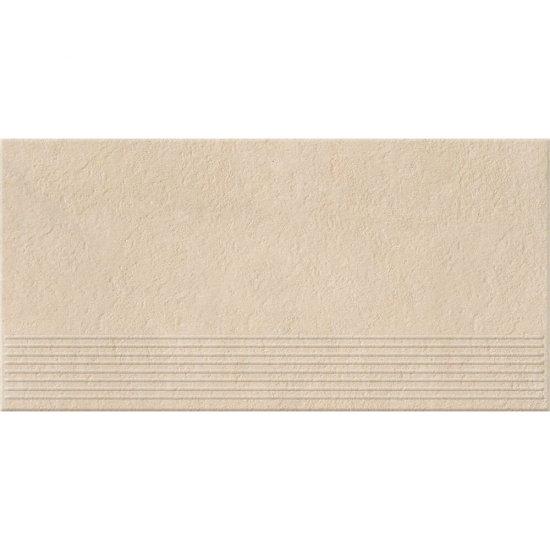 Gres zdobiony stopnica DRY RIVER cream mat 29,55x59,4 gat. I