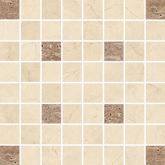 Płytka ścienna mozaika LIGHT MARBLE beige square glossy 29x29 gat. I