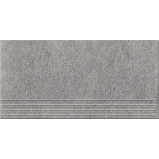 Gres zdobiony stopnica DRY RIVER grey mat 29,55x59,4 gat. I