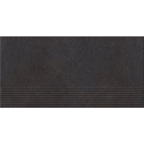 Gres zdobiony stopnica DRY RIVER graphite mat 29,55x59,4 gat. I