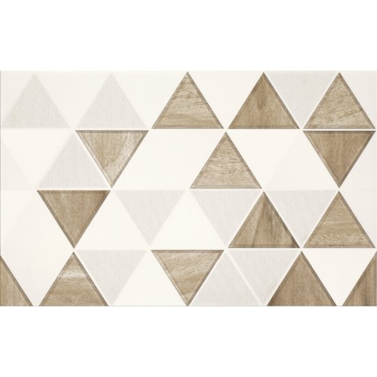 Płytka ścienna inserto AREZZO white-beige trójkąt 25x40 gat. I