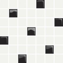 Płytka ścienna mozaika RETRA white-black glossy 24,86x25 gat. I