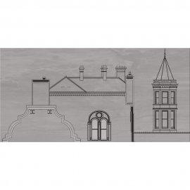 Płytka ścienna inserto CITY grey house A mat 29,7x60 gat. I