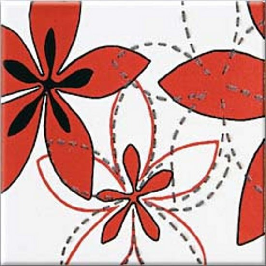 Płytka ścienna APLAUZ red inserto flow błyszcząca 10x10 gat. I