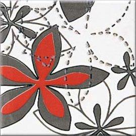 Płytka ścienna APLAUZ biała inserto kwiaty błyszcząca 10x10 gat. I