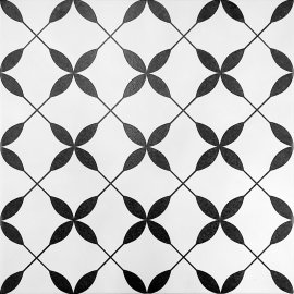 Gres szkliwiony PATCHWORK CONCEPT white-black clover pattern satin 29,8x29,8 gat. II