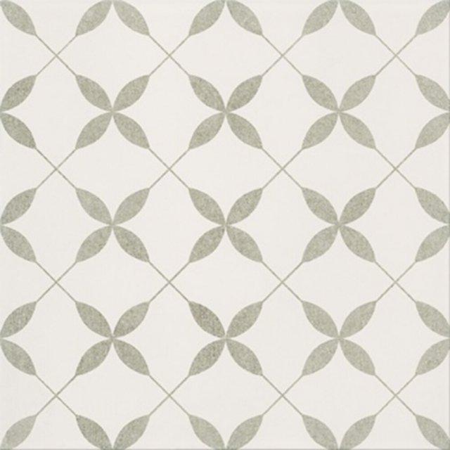 Gres szkliwiony PATCHWORK CONCEPT white-grey clover pattern satin 29,8x29,8 gat. II