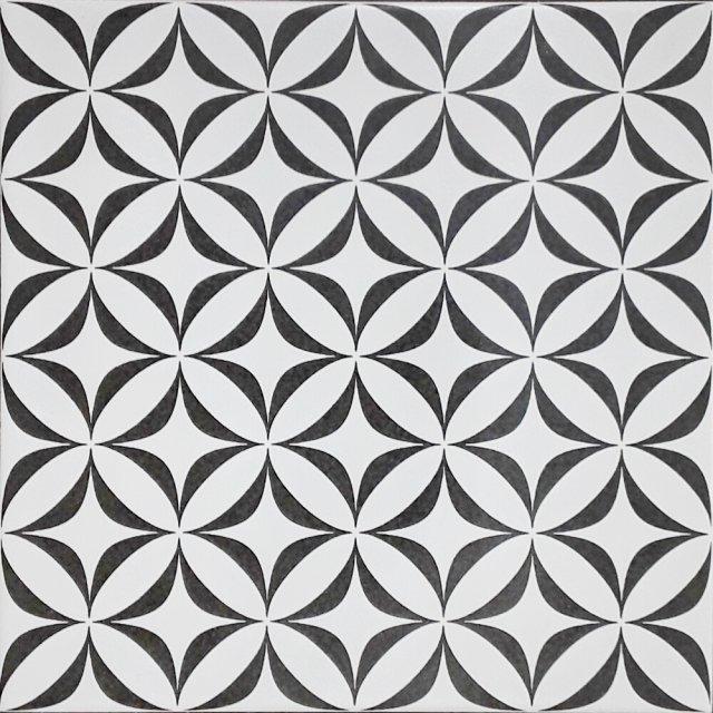 Gres szkliwiony PATCHWORK BLACK&WHITE ORNAMENT 29,8x29,8 gat. II Cersanit