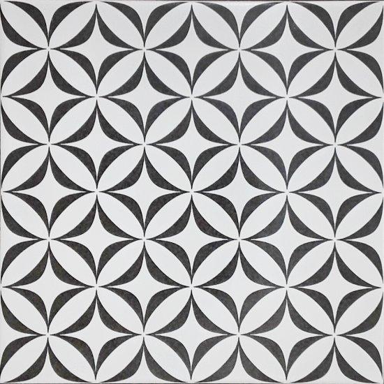 Gres szkliwiony PATCHWORK CONCEPT white-black vertigo satin 29,8x29,8 gat. II