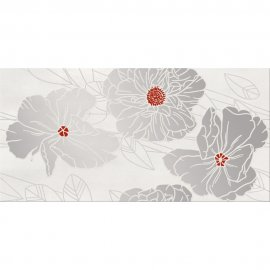 Płytka ścienna GRISSA szara inserto kwiaty błyszcząca 29,7x60 gat. I