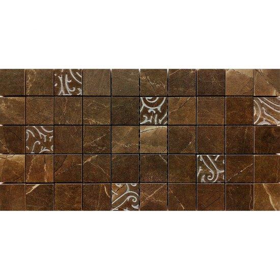Gres szkliwiony ARKOS brązowy mozaika kwadraty classic połysk 22,2x44,6 gat. I