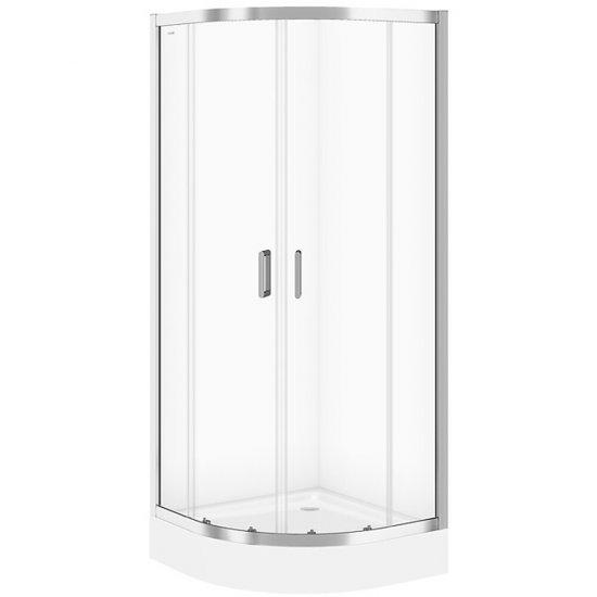 Kabina prysznicowa półokrągła BASIC 90x185 szkło transparentne z brodzikiem TAKO 90x16