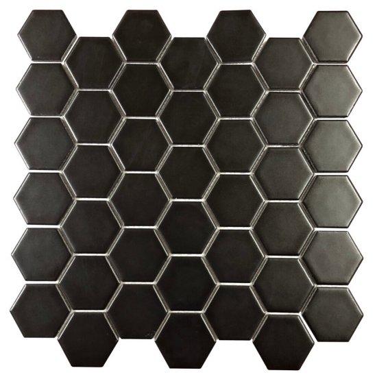 Mozaika gresowa MEDIUM HEXAGONES black mat 30x30 gat. I