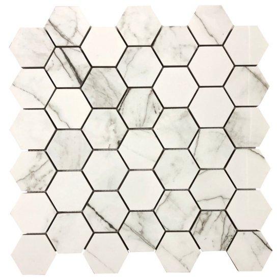 Mozaika gresowa MAKALU MEDIUM HEXAGONES white polished 30x30 gat. I