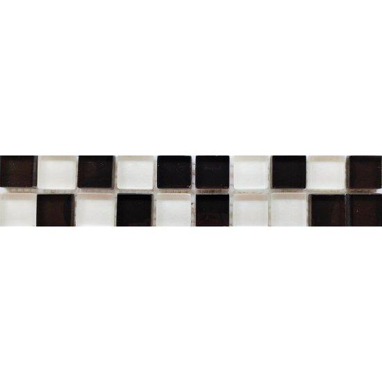Płytka ścienna ARVENA biało-czarna listwa mozaika 4,8x25 gat. I