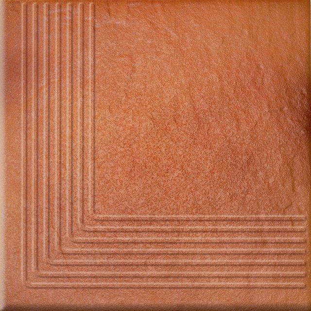 Klinkier stopnica SOLAR orange narożny structure glossy 30x30 gat. I