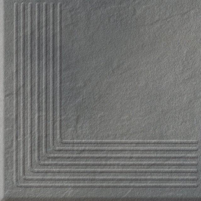 Klinkier stopnica SOLAR szary narożny structure glossy 30x30 gat. I