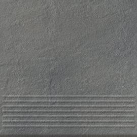 Klinkier stopnica SOLAR szary structure glossy 30x30 gat. I