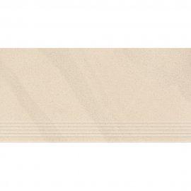 Gres zdobiony stopnica KANDO off-white satyna 29,55x59,4 gat. I