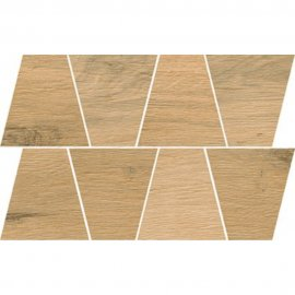 Gres szkliwiony GRAND WOOD NATURAL beige MOSAIC TRAPEZE mat 0,8 19x30,6 gat. I