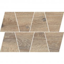 Gres szkliwiony GRAND WOOD NATURAL COLD brown MOSAIC TRAPEZE mat 0,8 19x30,6 gat. I