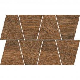 Gres szkliwiony GRAND WOOD PRIME brown MOSAIC TRAPEZE mat 0,8 19x30,6 gat. I