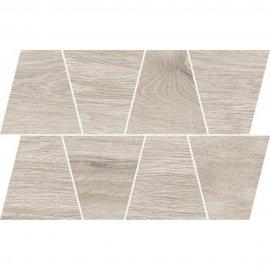 Gres szkliwiony GRAND WOOD PRIME light grey MOSAIC TRAPEZE mat 0,8 19x30,6 gat. I