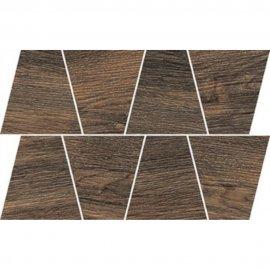 Gres szkliwiony GRAND WOOD RUSTIC mocca MOSAIC TRAPEZE mat 0,8 19x30,6 gat. I