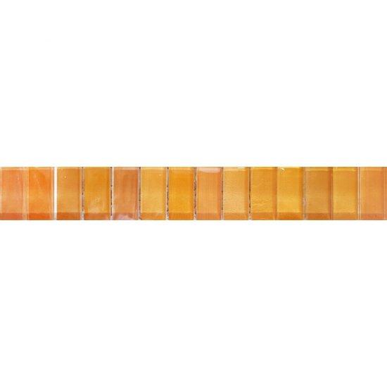 Płytka ścienna CAPRI pomarańczowa listwa mozaika błyszcząca 5,5x50 gat. I