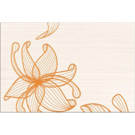 Płytka ścienna inserto LORENA cream orange kwiaty A glossy 30x45 gat. I