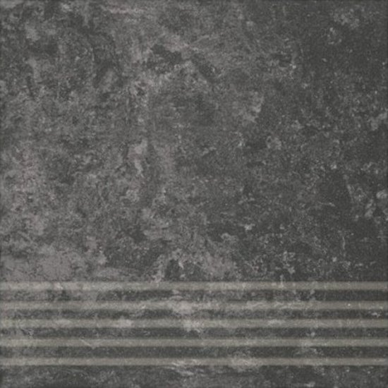 Gres zdobiony stopnica CALABRIA nero mat 29,55x29,55 gat. I