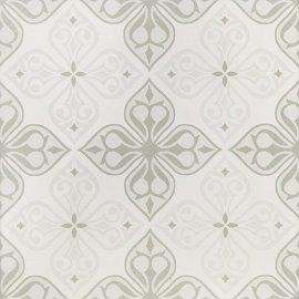 Gres szkliwiony PATCHWORK CONCEPT white-grey flores satin 29,8x29,8 gat. II