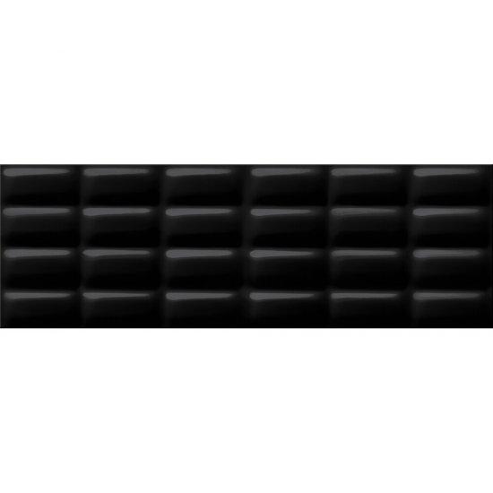 Płytka ścienna PRET A PORTER black pillow structure glossy 25x75 gat. II