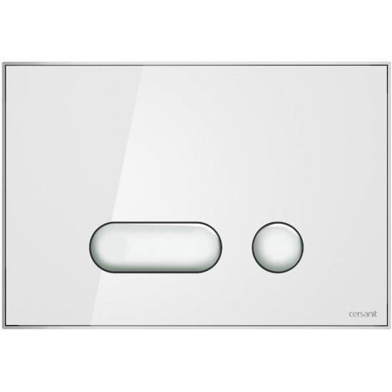 Przycisk spłukujący INTERA szkło białe