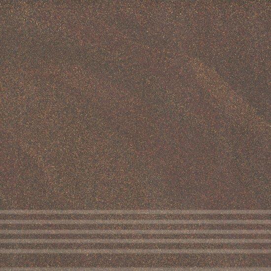 Gres zdobiony stopnica KANDO brown mat 29,55x29,55 gat. I