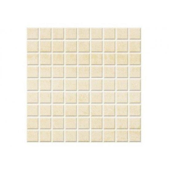 Mozaika gresowa zdobiona Alpina bianco błyszcząca 29,55x29,55