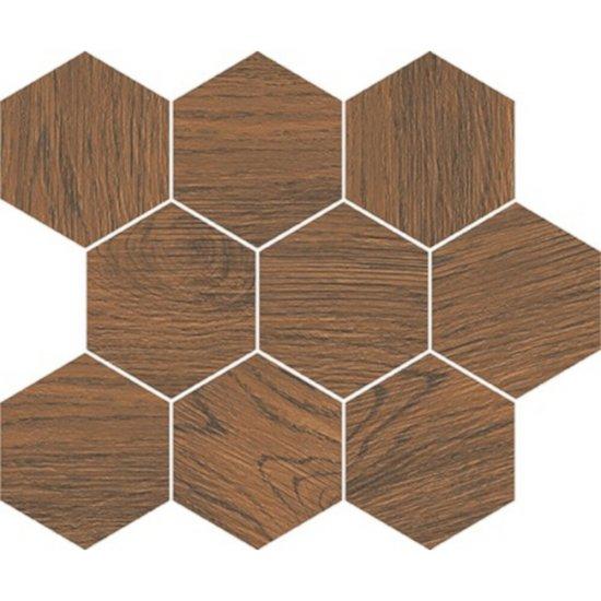 Gres szkliwiony mozaika LOVELY WHITE ochra heksagon 28x33,7 gat. I