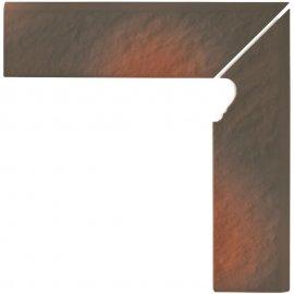 Klinkier cokół schodowy SHADOW BROWN prawy structure mat 8x30 gat. I