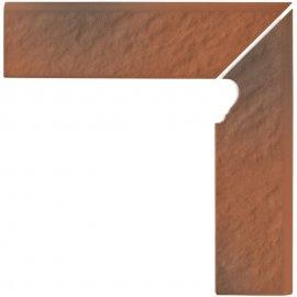 Klinkier cokół SHADOW RED schodowy prawy structure mat structure 8x30 gat. I