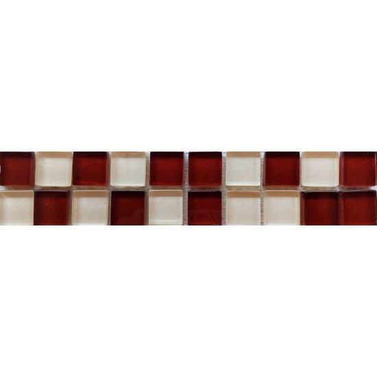 Płytka ścienna AROMA biało-brązowa listwa szklana mozaika błyszcząca 4,8x25 gat. I