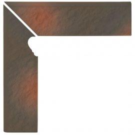 Klinkier SHADOW BROWN cokół schodowy lewy struktura struktura mat 8x30 gat. I
