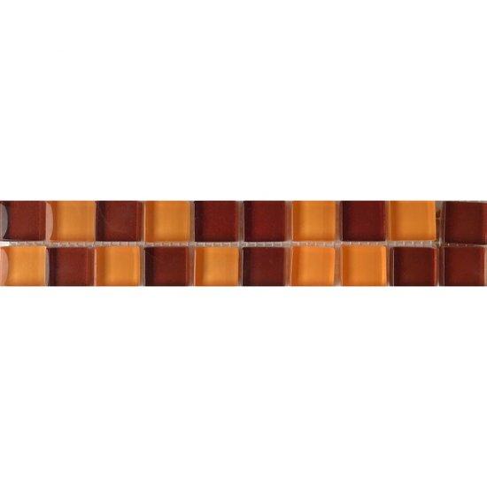 Płytka ścienna AROMA brązowo-pomarańczowa listwa szklana mozaika błyszcząca 4,8x25 gat. I