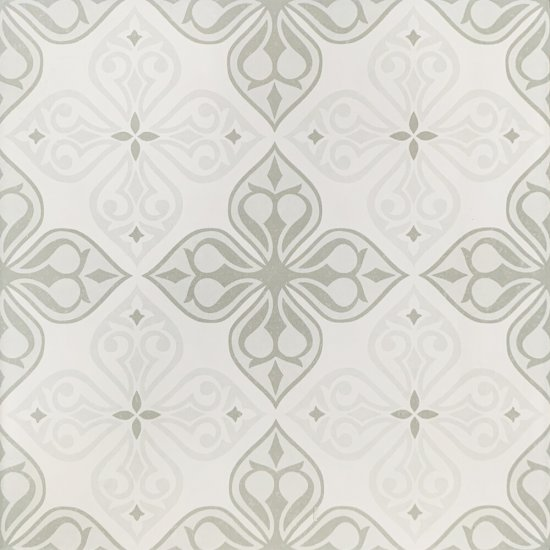 Gres szkliwiony PATCHWORK CONCEPT white-grey flores satyna 29,8x29,8 gat. I