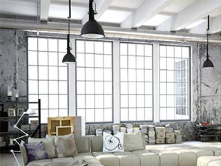 Oświetlony loft